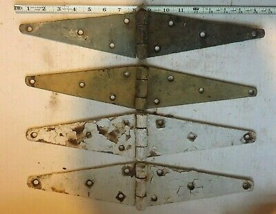 "Lot Of 4 Vintage Iron Strap Hinges Barn Door Gate Antique 16"" Long"