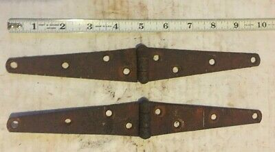 "Lot Of 2 Vintage Iron Strap Hinges Barn Door Gate Antique 10"" Long Pair"