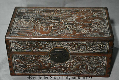 """18"""" Old Chinese Huanghuali Wood Carved Dragon Phoenix Storage Jewelry box Casket"""