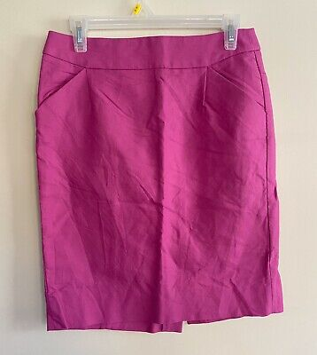 J.Crew Factory Pencil Skirt Size 4 Pink Fuchsia Bright Gently Used Work