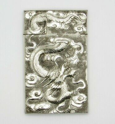 Antique 19th C. Chinese Export Silver Signed Repousse Card Case With Dragons