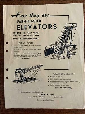 C 1950 s Farm Master Elevators loader stacker Irish Ballarat advertising flyer