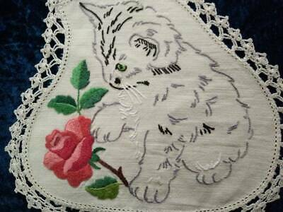 Sweet Kittens & Red Rose   Vintage Hand Embroidered Doily - 2 available