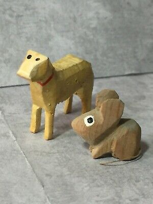Brown Mouse & Yellow Dog ~ Hand Carved Wooden Wood Folk Art Antique Miniatures