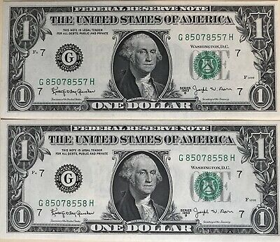 🇺🇸USA 1963b $1, Federal Reserve Notes. Uncirculated & Consecutive. Barr Notes!