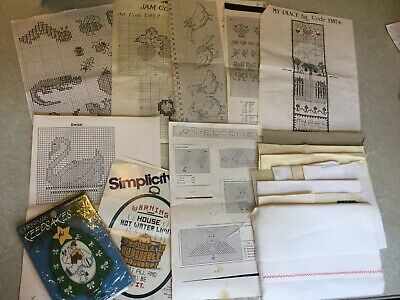 Hand Embroidery Patterns And Aida Cloth Scraps