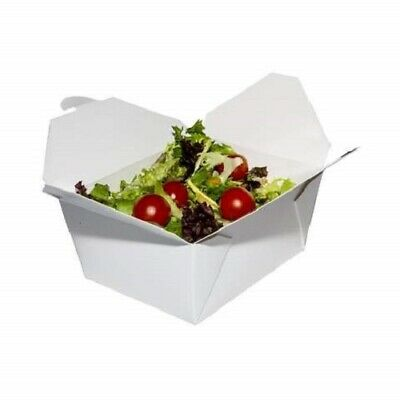 100 x Takeaway White Food Boxes Disposable Paper Deli Leak Proof 26oz 51oz 69oz