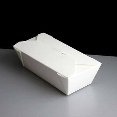 50 x Takeaway White Food Boxes - Paper Leak Proof Deli 26oz 46oz 51oz 69oz 25oz