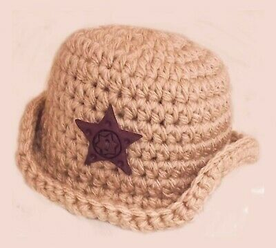COWBOY BABY FEDORA CAP HAT PHOTOGRAPHY PHOTO PROP OUTFIT brown peaked sun hat