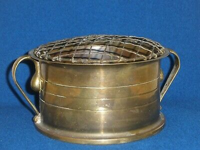 VINTAGE WW1 - 1917 TRENCH ART BRASS SHELL Wire Work Top ROSE VASE / BOWL