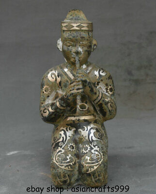 """10 """"alte China Silber Bronze Ware Dynasty People Musikinstrument Statue"""