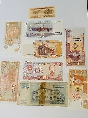Nice old 9 Bank Note Currency Money some UNC lot bundle mix world collector d 12