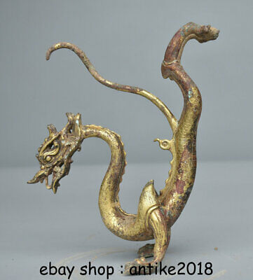 """6.8""""Old Chinese Bronze 24K Gilt Gold Feng Shui Zodiac Animal Stand Dragon Statue"""