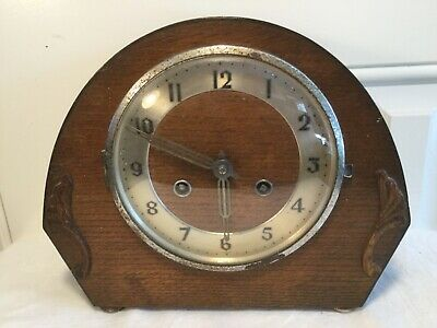1940/50s WOODEN MANTLE CLOCK Marked Foreign, untested sold as spares or repairs