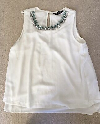 White Maternity Top With Jewel Neck, Dorothy Perkins, Size 10