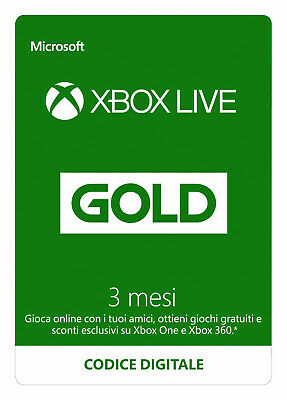Abbonamento Xbox Live 3 Mesi Gold Xbox One / 360 Invio Immediato Via Email