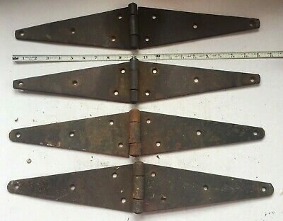 "Lot Of 4 Large Vintage Iron Strap Hinges Barn Door Gate Antique 20"" Long"