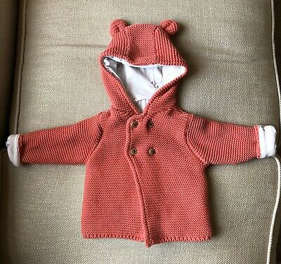 M&S Baby Girls Lined Knitted Jacket / Cardigan 3-6 Months Pink