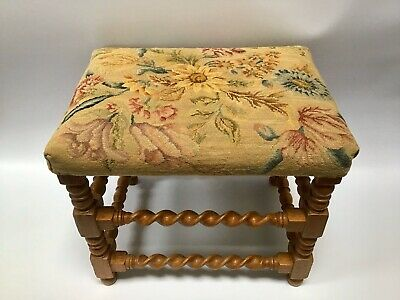 Vintage/Antique Petite Point/needlepoint Stool Embroidery Barleytwist Footstool