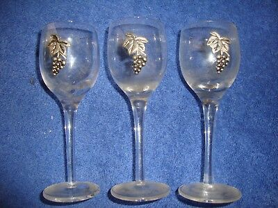 3 - Small Wine Sample Tasting Glasses With Pewter Grapes Footed Stemware