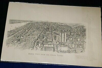 Antique Lithographs North View From Singer Tower N.y. By Spofford 1909 As Pic'd