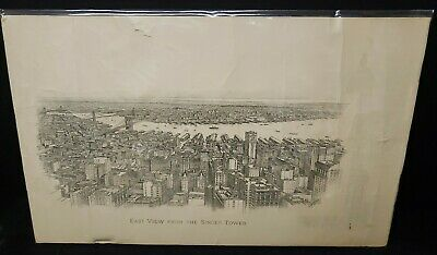 Antique Lithographs East  View From Singer Tower N.y. By Spofford 1909 As Pic'd