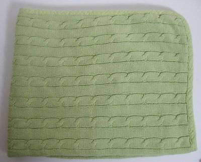 Tadpoles Soft Cotton Baby Blanket Spring Green Cable Knit Lovey