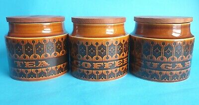 Vintage Hornsea 'Brown Heirloom' Storage Jar Set Designed by John Clappison 1966
