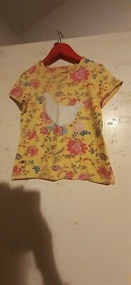 Little Joules Girls Yellow Floral Top Aged 7 Years