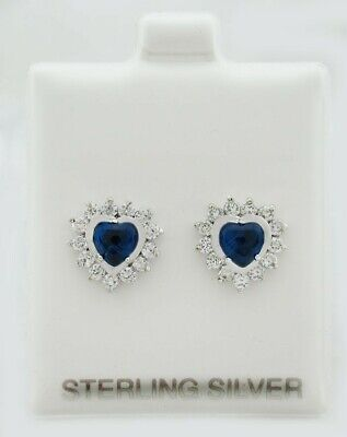 BLUE SAPPHIRE 1.72 Cts & WHITE SAPPHIRES HEART STUD EARRINGS .925 SILVER *NWT*