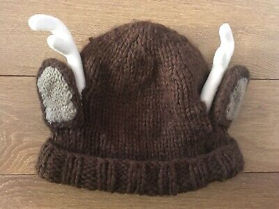 Childrens Kids Boys Girls Brown Reindeer Hat with Ears Antlers Christmas Rudolph