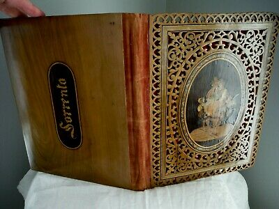Antique Sorrento Ware 2-sided Carved Wood Inlaid Book Cover Peasant Scene RARE!