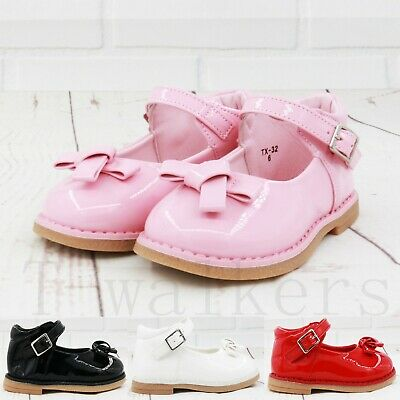 Kids Girls Infants Babys Children Bow Spanish Wedding Party Patent Toddler Shoes