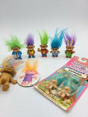 Vintage 1991 one-inch Soma Troll Dolls - Lot of 6 plus earrings, and badge