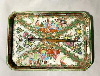 19th C Rose Medallion Porcelain Tray and Bamboo Pipe