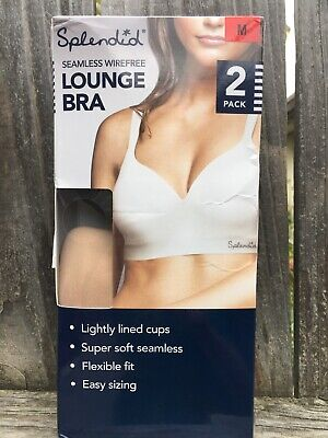 Splendid Womens Lounge Bra 2pk Black Beige Wire Free Comfort Soft Seamless M New