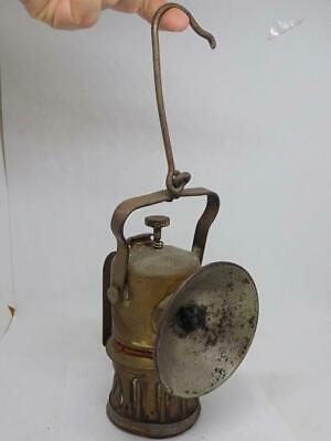 """Tall Antique Justrite Carbide Miners Hook Lamp Hanging Lantern 13"""" incl hook"""