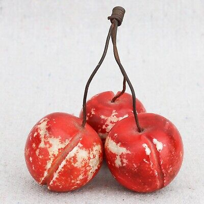 Vintage Italian Hand Carved Alabaster Cherries Stone Fruit Wire Stems