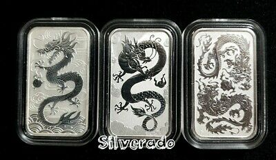 3 X Dragon 1 oz Silver Rectangle Bullion Coin Bars Perth Mint in Capsules