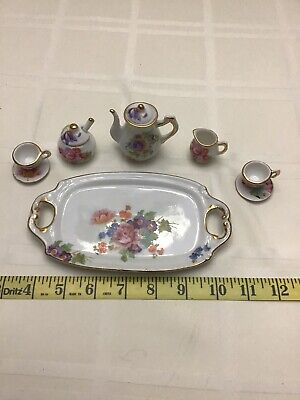 11 Pc-Miniature Tea Multi Colored  Floral Tea Set
