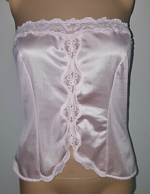 VTG Warner's Pink Ultra Sheer Nylon Lace Inset Strapless Camisole Cami Top 34 M