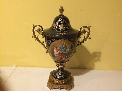 French Sevres Cobalt Gold Porcelain Vase Urn Ormolu Bronze Mounts Artist Signed