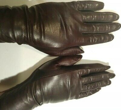 Vintage Isotoner Aries Brown Leather Spandex Gloves NICE Small to Large