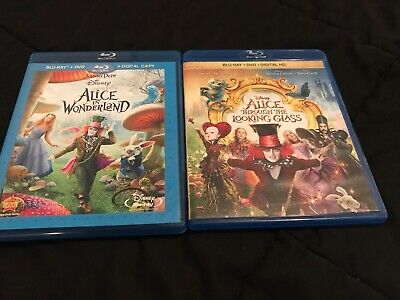 Alice In Wonderland & Alice Through the Looking Glass(2-Blu Ray Movies)Very Good