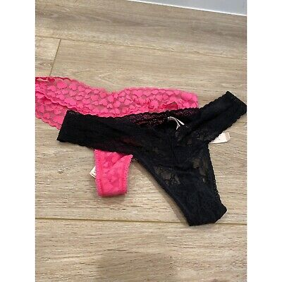 NWT Lot Of 2 Victoria's Secret Lace Thong Panties ONE SIZE Pink Black