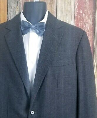 Anderson & Sheppard Savile Row England Gray Check 2 Piece Suit 46 Regular 42x33