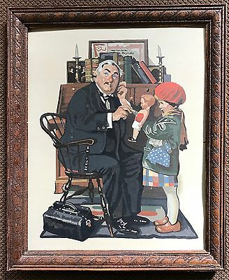 Vtg 70s Norman Rockwell Paint By Numbers PBN Doctor & The Doll Painting Retro