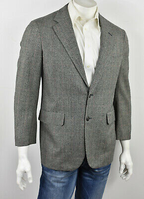 VTG BROOKS BROTHERS Gray Glen Plaid Tweed Wool 2-Btn Sport Coat 40R