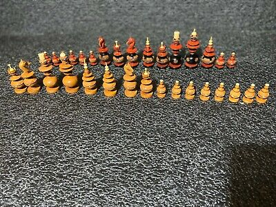 VINTAGE Chess Pieces Hand Carved Wooden COMPLETE SET