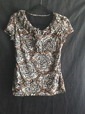 Knit Top Ruffle Neck Shirt Stretch Blouse Black Beige Brown Career Casual No Tag